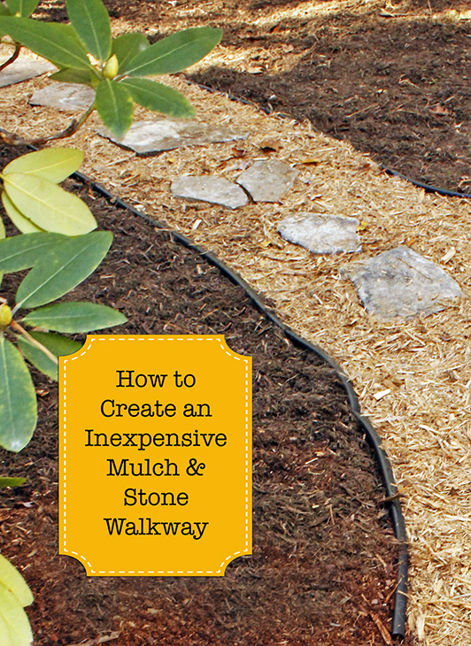 how to create an inexpensive mulch and stone walkway. Black Bedroom Furniture Sets. Home Design Ideas