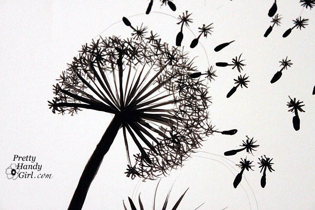Dandelion blowing away drawing for How to draw a dandelion step by step