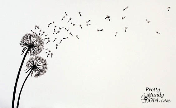 Drawing Lines In Jcanvas : Tutorial for painting dandelion wall graphic pretty