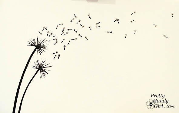 Tutorial for Painting Dandelion Wall Graphic - Pretty