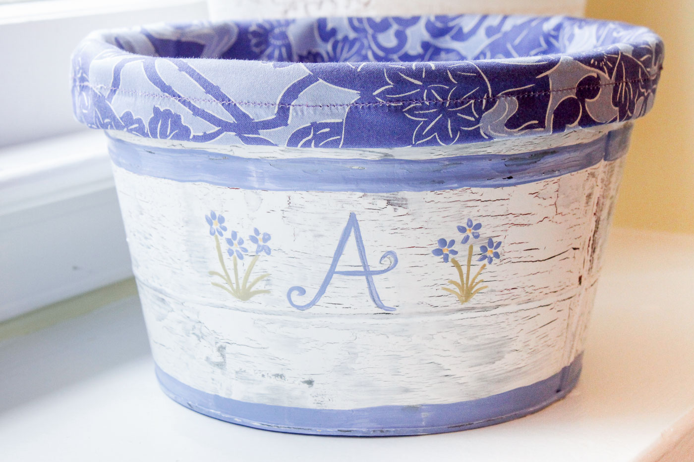 Faux Chippy Painted Metal Pail with Liner