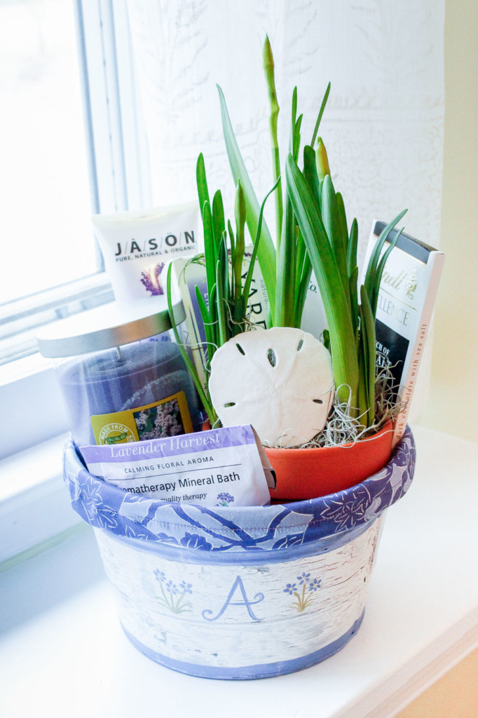 Spa-themed gift bucket on hand-painted chippy pail