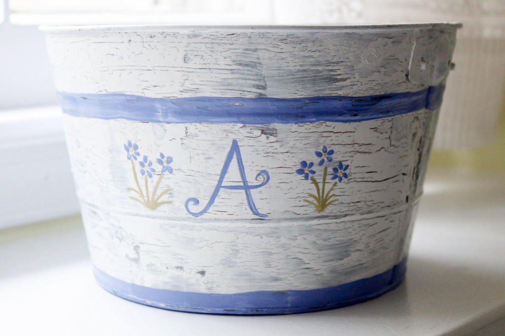 """hand painted """"A"""" monogrammed pail"""