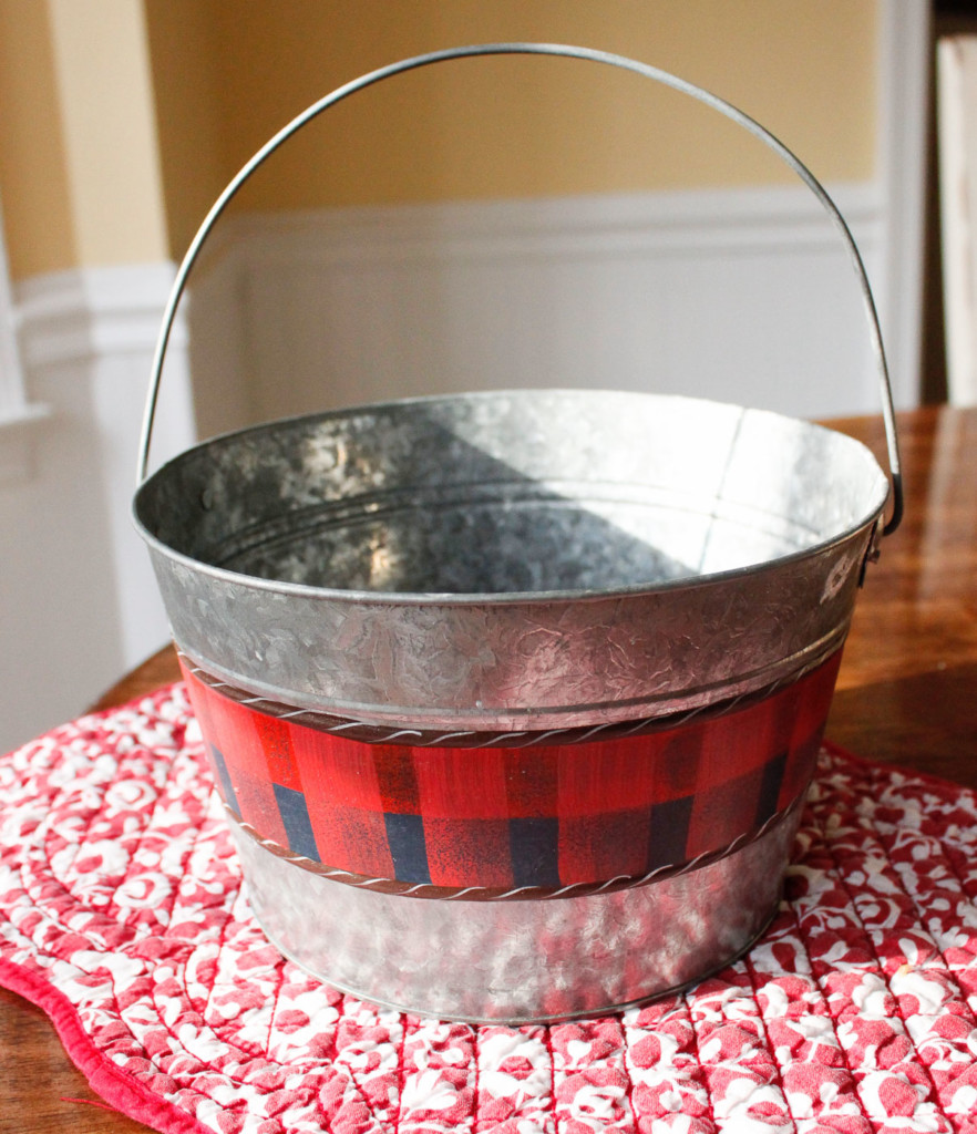 little red buffalo check painted pail