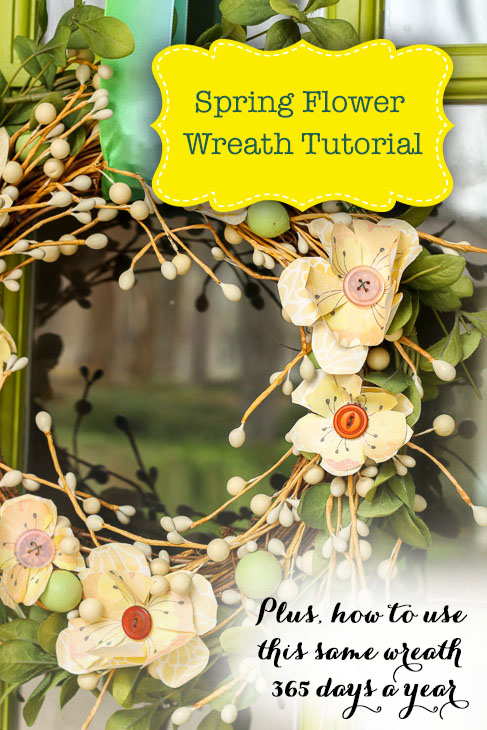 How to Create a Beautiful Spring Wreath with Scrapbook flowers and buttons
