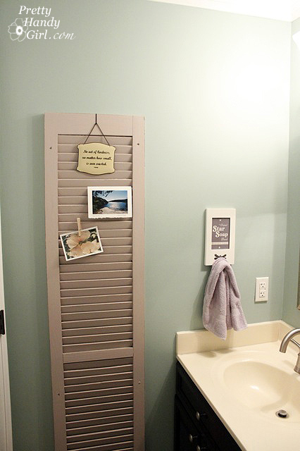 old shutters as photo display