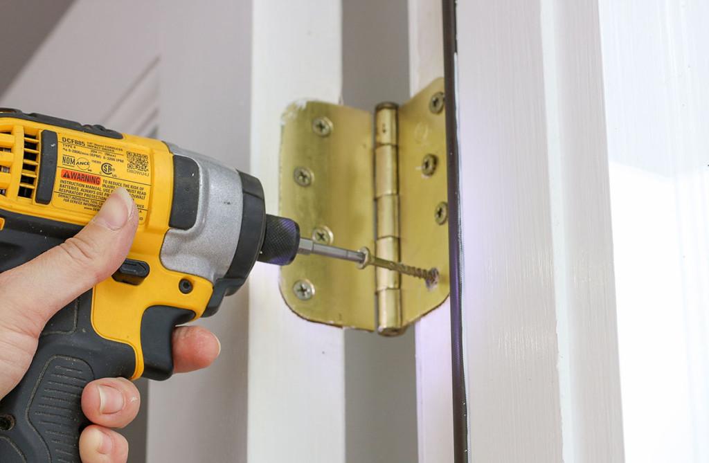 drive longer screws into door hinge