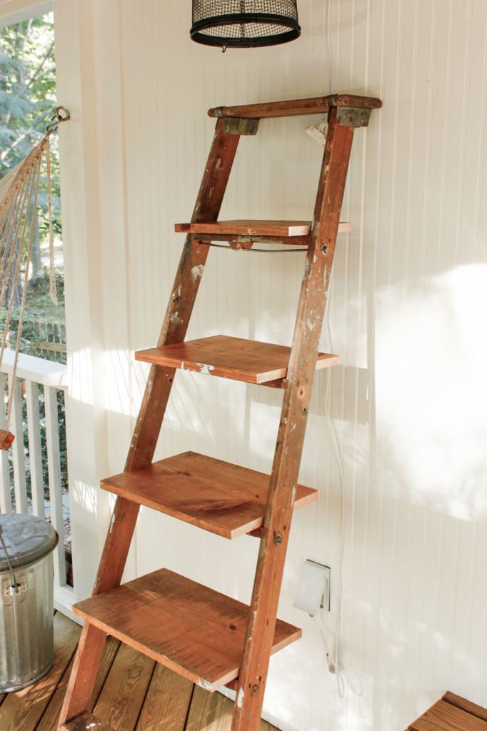dry fit shelves on ladder
