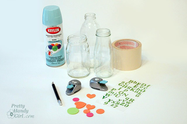 Spray painted glass jars and bottles pretty handy girl for How to paint glass jars