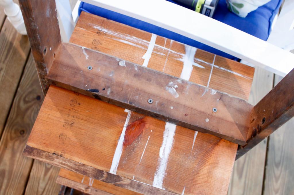 3 screws under ladder step into shelf