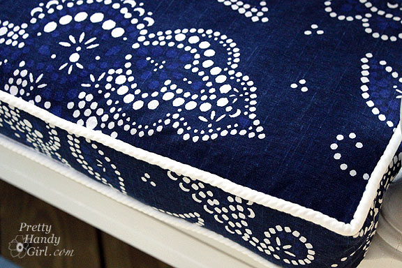 Sewing a Bench Cushion with Piping finished