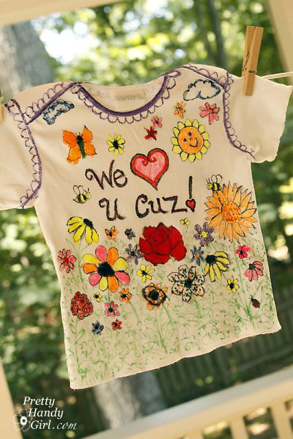 sharpie stained markers making a keepsake baby shirt pretty
