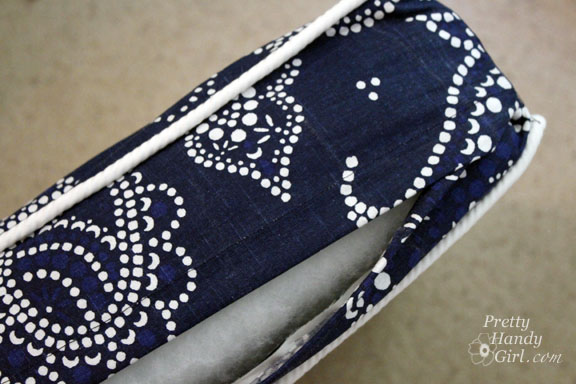 How To Make Removable Throw Pillow Covers With Velcro Closure : Sewing a Bench Cushion with Piping - Pretty Handy Girl