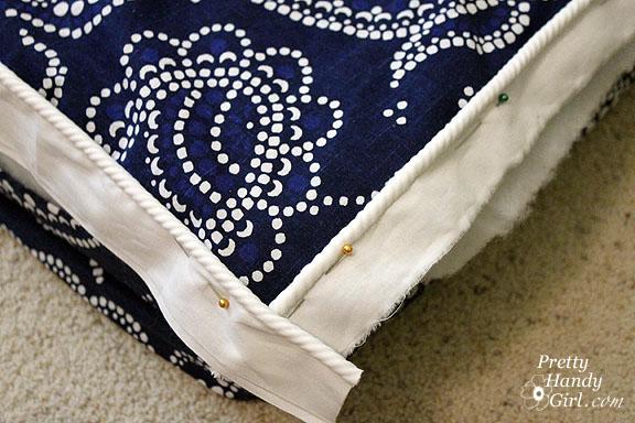 sewing bench cushion corners