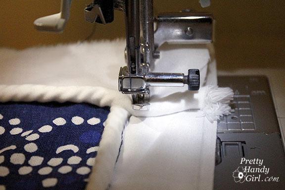 sew backstitch cushion