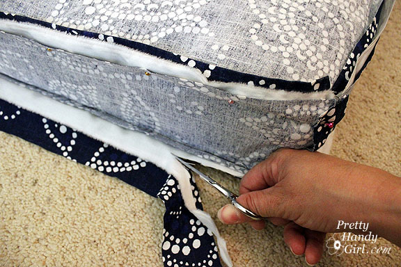 Sewing a Bench Cushion with Piping cut excess