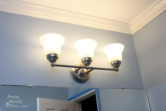 changing out a light fixture bye bye hollywood strip light pretty handy girl. Black Bedroom Furniture Sets. Home Design Ideas