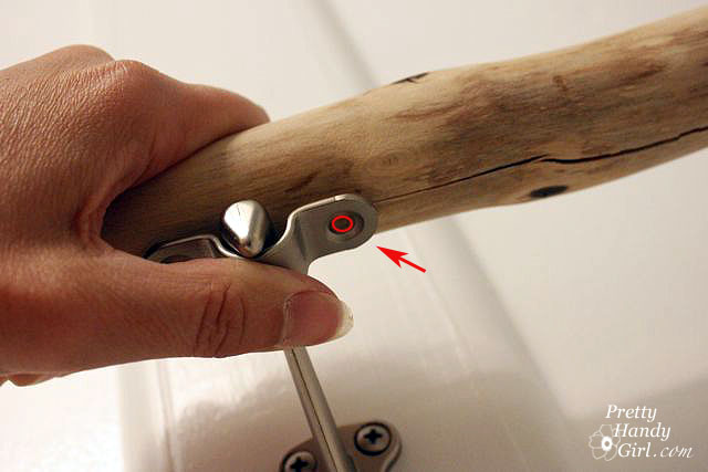 Handrail bracket to install branch as a towel bar