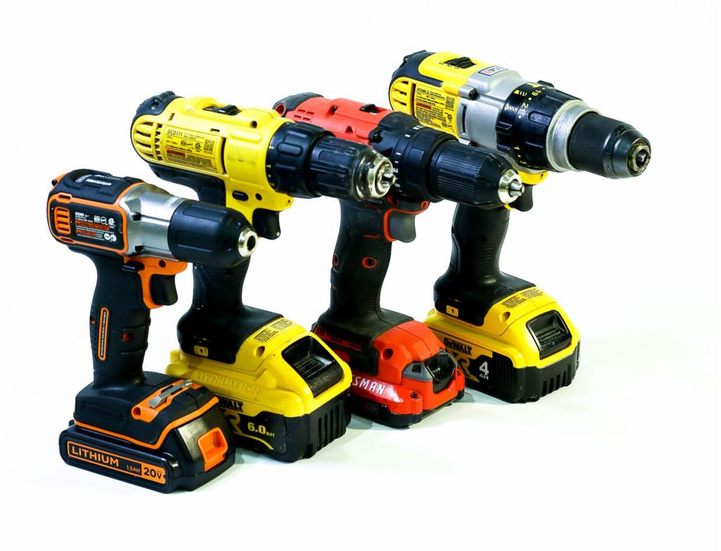 4 cordless drills, different brands