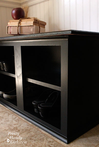 Shoe Bench from a Kitchen Cabinet