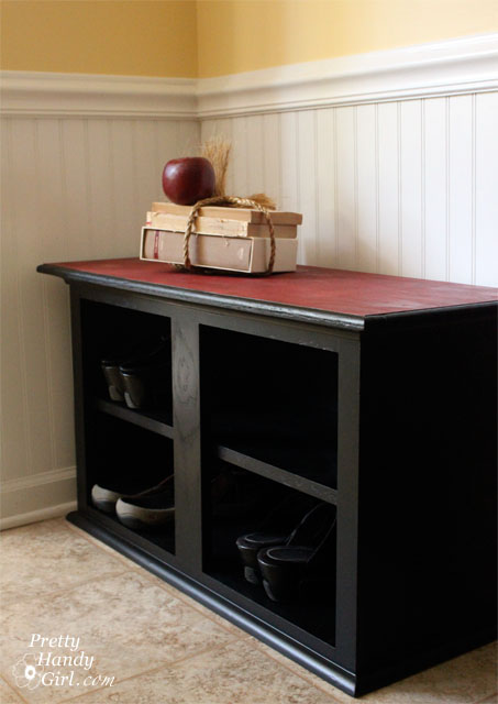How to make a shoe storage bench out of a habitat restore wall cabinet pretty handy girl - How to build shoe storage cabinet ...