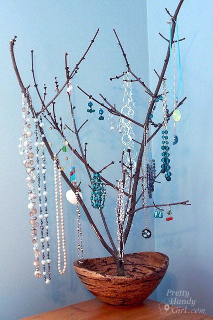 Sculptural branch jewelry display holder pretty handy girl for Tree branch jewelry holder