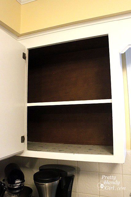 Fabric Backed Open Kitchen Cabinets Diy On A Dime The