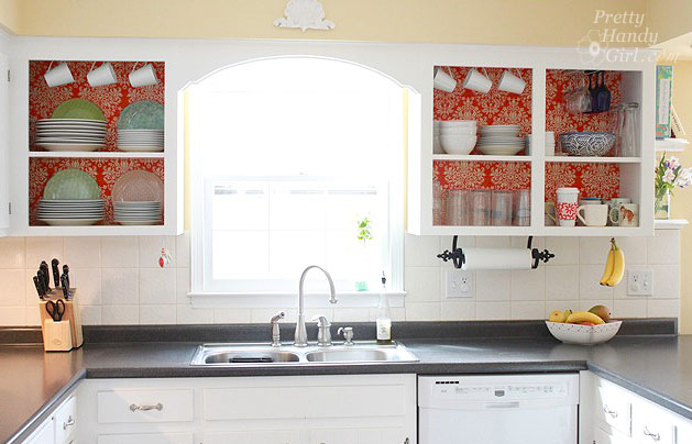 Fabric backed open kitchen cabinets diy on a dime the tutorial save solutioingenieria Image collections
