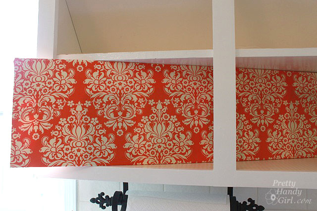 Fabric Backed Open Kitchen Cabinets
