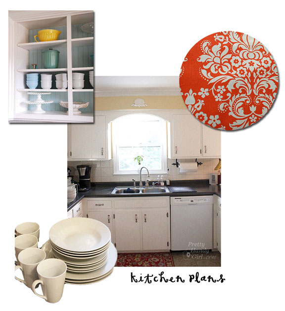Diy Open Kitchen Cabinets fabric backed open kitchen cabinets - diy on a dime the tutorial