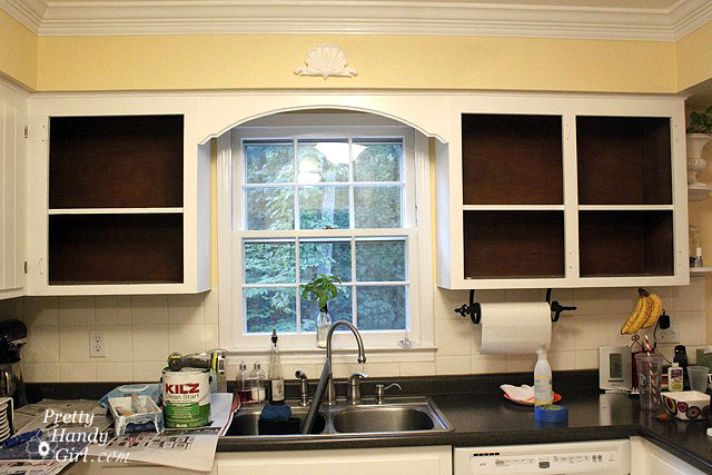 fabric backed open kitchen cabinets diy on a dime the. Black Bedroom Furniture Sets. Home Design Ideas