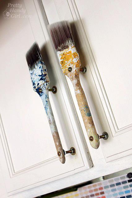 Old Paintbrush Cabinet Door Handles Pretty Handy Girl