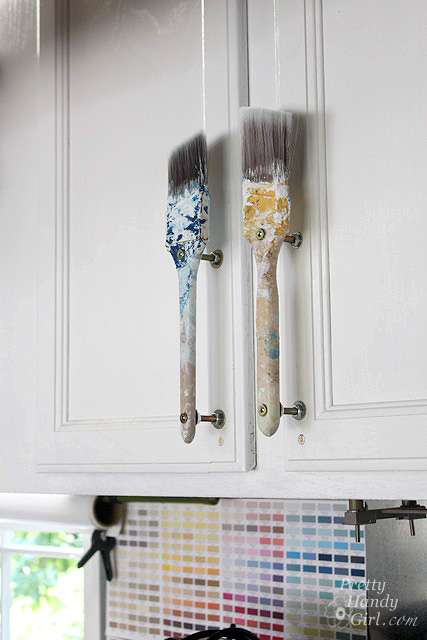 Old paintbrush cabinet door handles pretty handy girl for Best brush for painting cabinets
