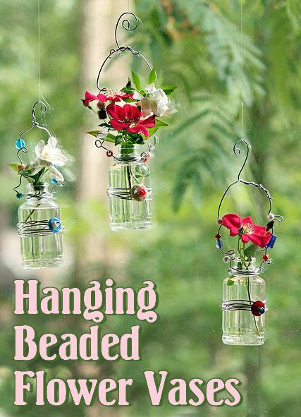 Hanging Beaded Glass Flower Vases Pretty Handy Girl