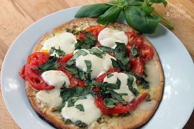 Grilled Corn Pesto Pizza recipe