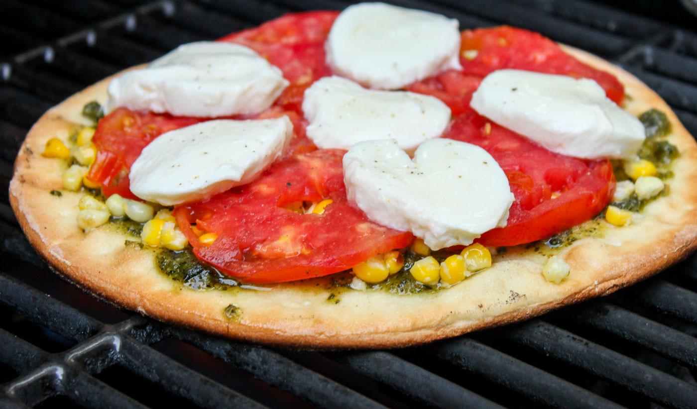 Grilled Corn Pesto Pizza