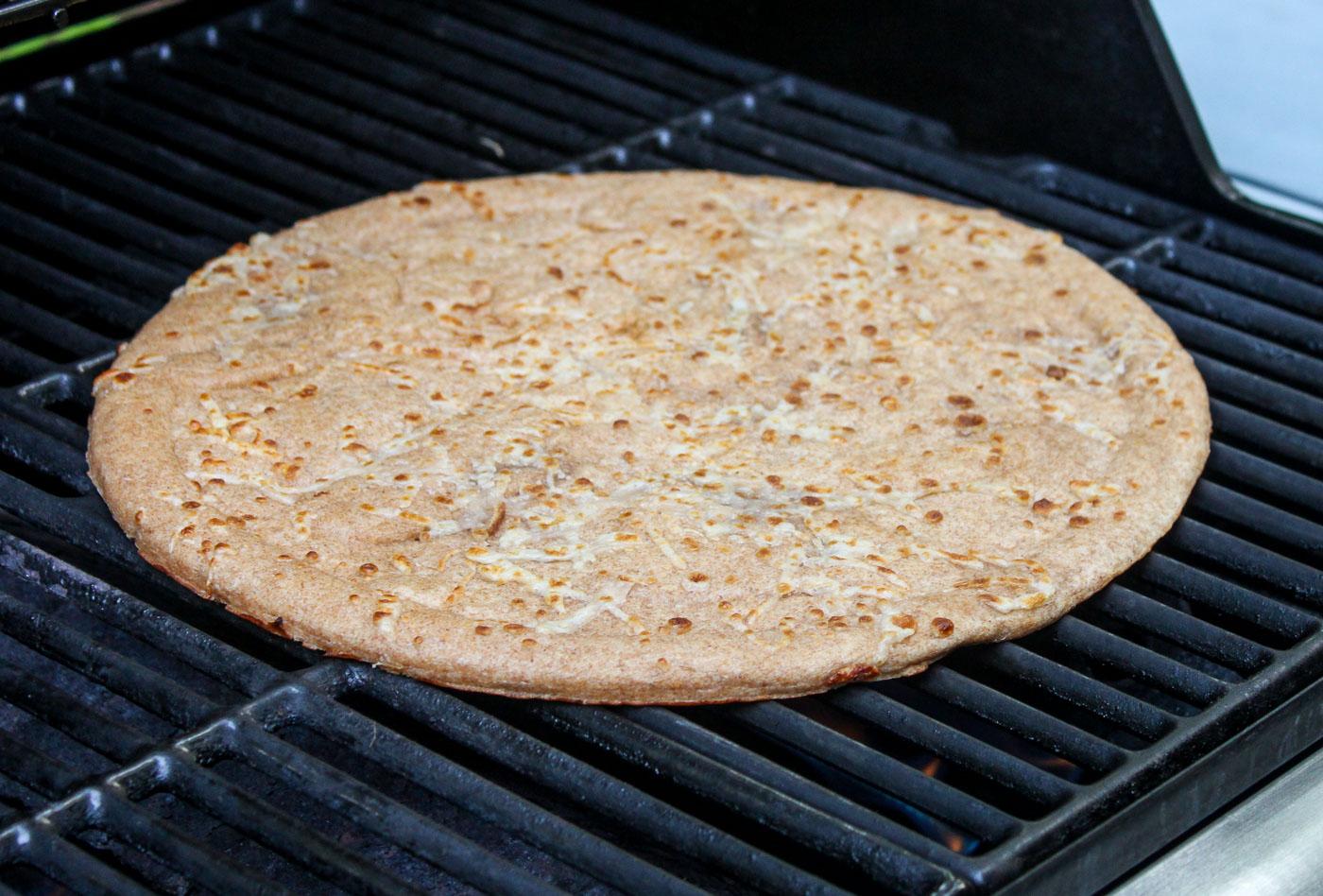 Pizza Crust on Grill - Grilled Corn Pesto Pizza