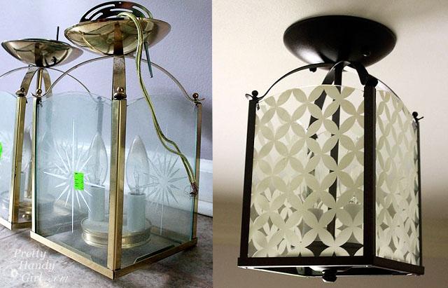 Circle Diamond Pattern Light Fixture Updating a Brass Light