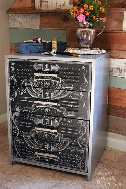 Faux zinc and chalkboard file cabinet pretty handy girl Upcycled metal filing cabinet