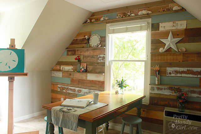how to install a scrap wood wall