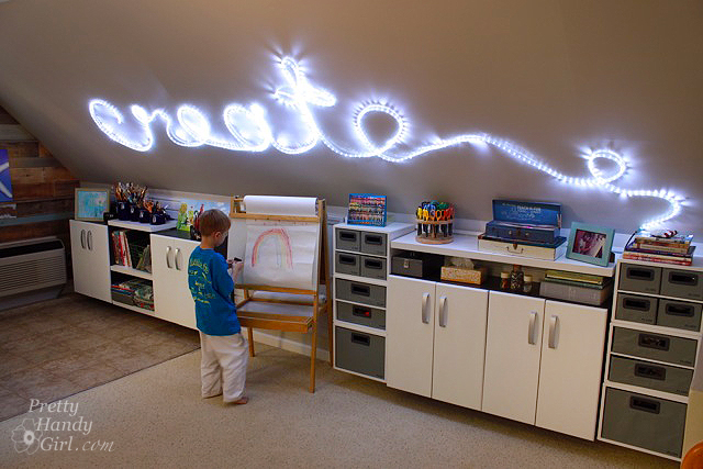 rope light wall word create lighting lights led creating studio room sign creative boy2 decorating space prettyhandygirl relatively process easy
