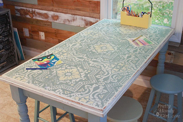 Chalk Painted Stenciled And Distressed Dumpster Table