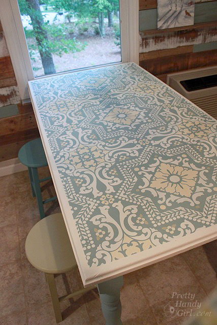 Stenciled Dining Table Room Ideas