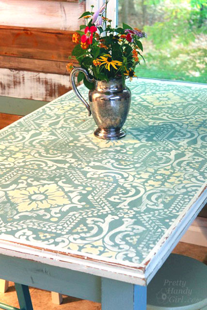 Chalk Painted Stenciled and Distressed Table from a dumpster