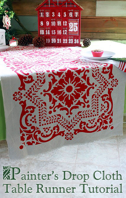 DIY Stenciled Drop Cloth Table Runner