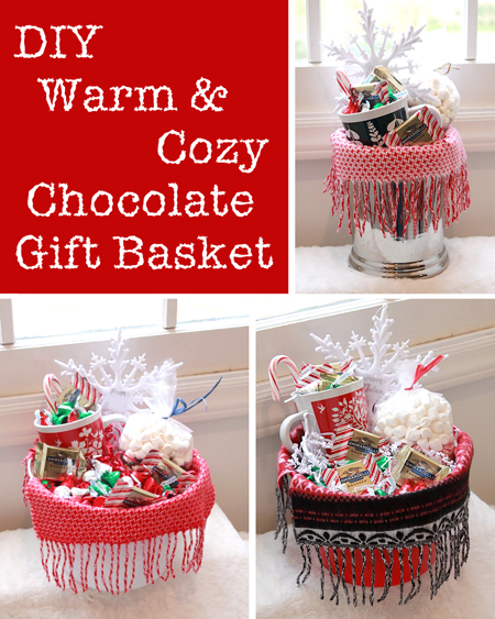 Warm cozy chocolate gift basket diy gift link party pretty save solutioingenieria Choice Image