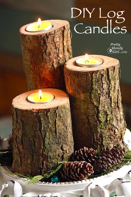 These DIY log candles are the perfect homemade Christmas gift for someone who loves rustic decor