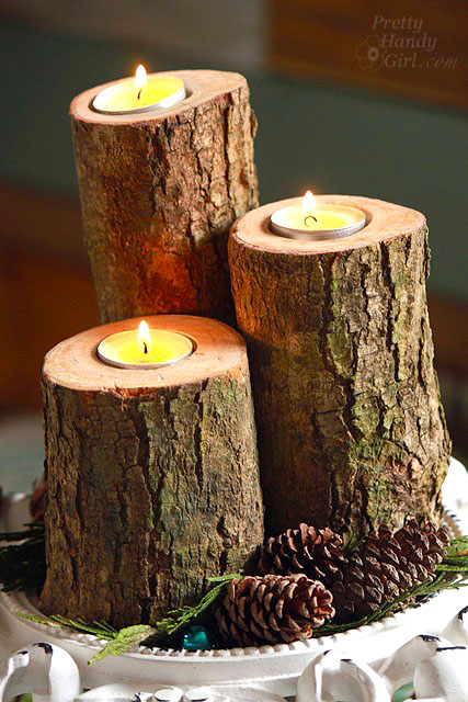 Log tea light pillar candles pretty handy girl for Diy wooden pillar candle holders