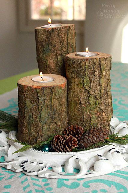 Log Tea Light Pillar Candles Pretty Handy Girl