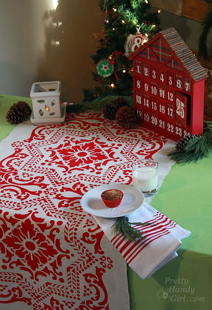 clever holiday decor - stenciled drop cloth